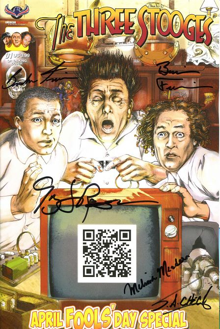 THREE STOOGES APRIL FOOLS DAY QUADRUPLE SIGNED CVR